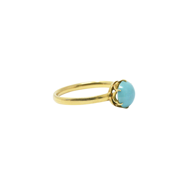 Tiffany & Co. Delicate 18K Gold & Turquoise Ring Ring