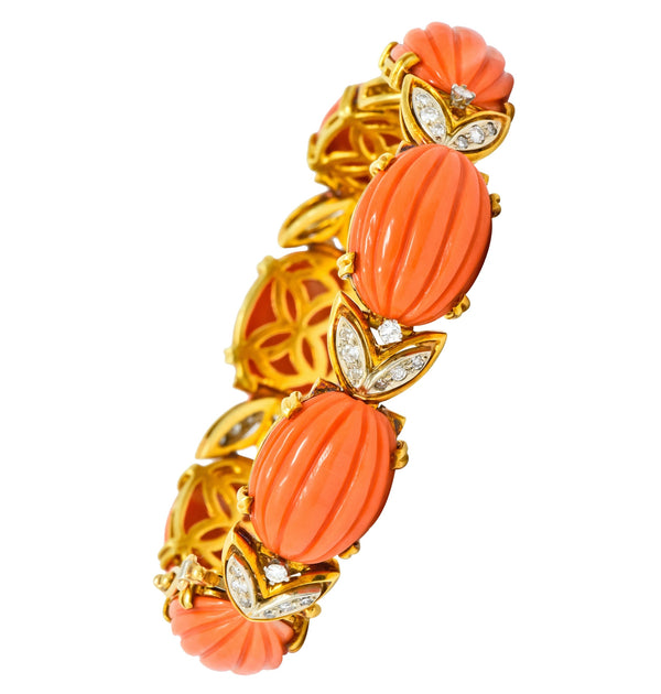 Tiffany & Co. Diamond Coral Platinum-Topped 18 Karat Gold Link Bracelet bracelet