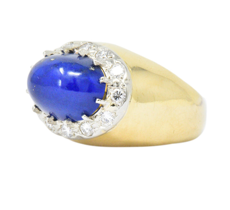 Tiffany & Co. Diamond Lapis Lazuli 18 Karat Gold Cocktail Ring Ring