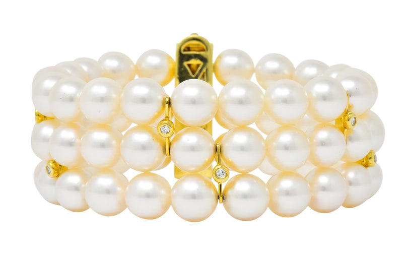 Tiffany & Co. Diamond Natural Cultured Pearl 18 Karat Yellow Gold Triple Strand Bracelet - Wilson's Estate Jewelry