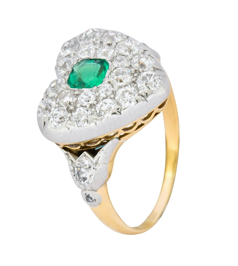 Tiffany & Co. Edwardian 1.54 CTW Emerald Diamond Platinum-Topped 18 Karat Gold Heart Cluster Ring - Wilson's Estate Jewelry