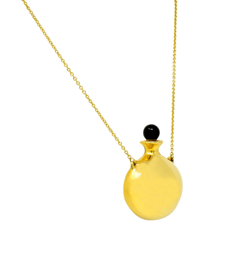 Tiffany & Co. Elsa Peretti Spain Black Jade 18 Karat Gold Bottle Round Bottle Pendant Necklace - Wilson's Estate Jewelry