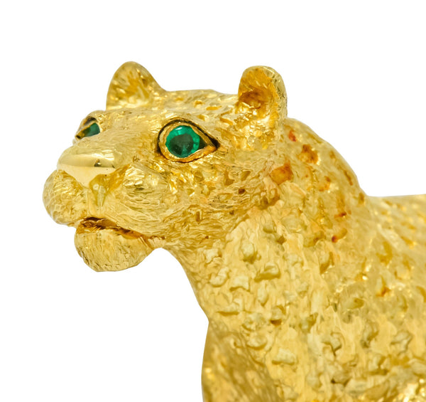 Tiffany & Co. Emerald 18 Karat Yellow Gold Leopard Brooch 1991 Brooch