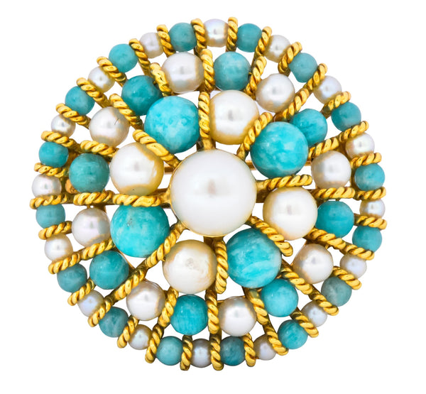 Tiffany & Co. Italy Retro Cultured Pearl Amazonite 18 Karat Gold Brooch