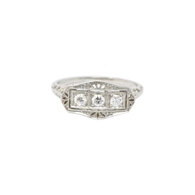 Tiffany & Co. Old European Diamond Platinum Panel Alternative Engagement Ring Ring