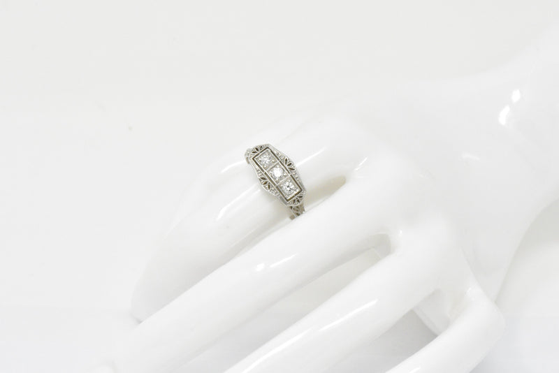 Tiffany & Co. Old European Diamond Platinum Panel Alternative Engagement Ring - Wilson's Estate Jewelry