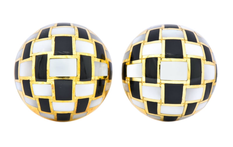 Tiffany & Co. Onyx Mother-of-Pearl 18 Karat Gold Checkerboard Ear-Clip Earrings Earrings