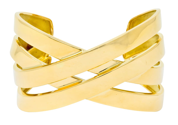 Tiffany & Co. Paloma Picasso French 18 Karat Yellow Gold Criss Cross Cuff Bracelet bracelet Contemporary out-of-stock Paloma Picasso signed