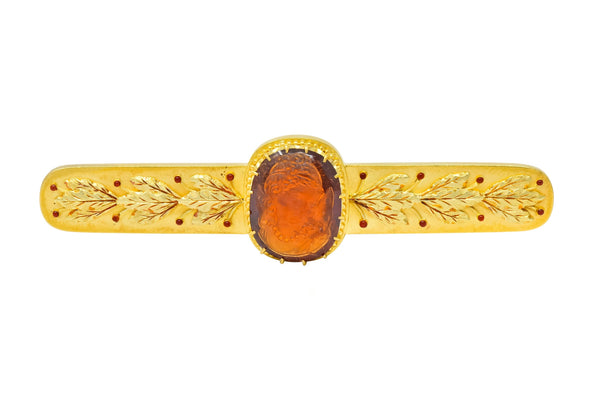 Tiffany & Co. Renaissance Revival Garnet 18 Karat Two-Tone Gold Cameo Bar Brooch - Wilson's Estate Jewelry