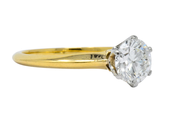 Tiffany & Co. Retro 1950s 1.08 CTW Diamond 18 Karat Gold Platinum Solitaire Engagement Ring GIA Ring