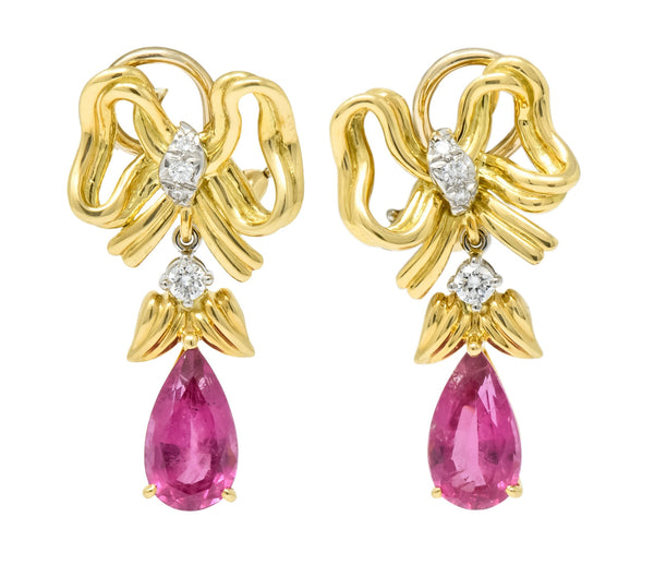 Tiffany & Co. Retro 4.85 CTW Tourmaline Diamond Platinum-Topped 18 Karat Gold Bow Earrings Earrings