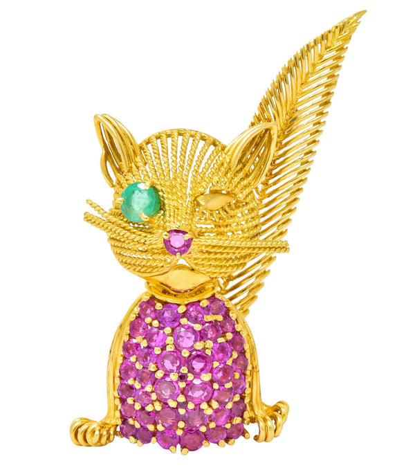 Tiffany & Co. Retro 5.45 CTW Ruby Emerald 18 Karat Yellow Gold Winking Cat Brooch Brooch