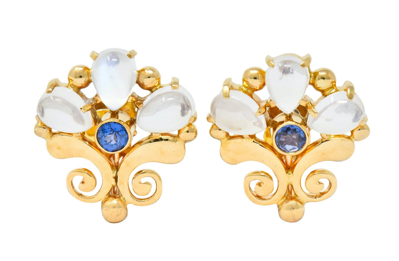 Tiffany & Co. Retro Moonstone Sapphire 14 Karat Gold Screwback Earrings Earrings moonstone out-of-stock Retro sapphire signed