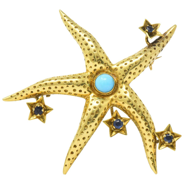 Tiffany & Co. Retro Sapphire Turquoise 18 Karat Gold Starfish Brooch - Wilson's Estate Jewelry