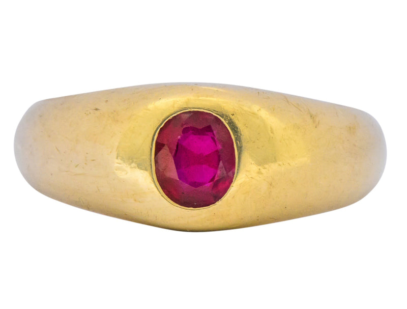 Tiffany & Co. Victorian 0.95 CTW Ruby 18 Karat Gold Unisex Ring - Wilson's Estate Jewelry