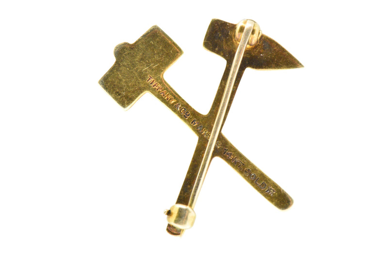 Tiffany & Co. Victorian 14 Karat Gold Hammer and Pick Brooch Pin - Wilson's Estate Jewelry