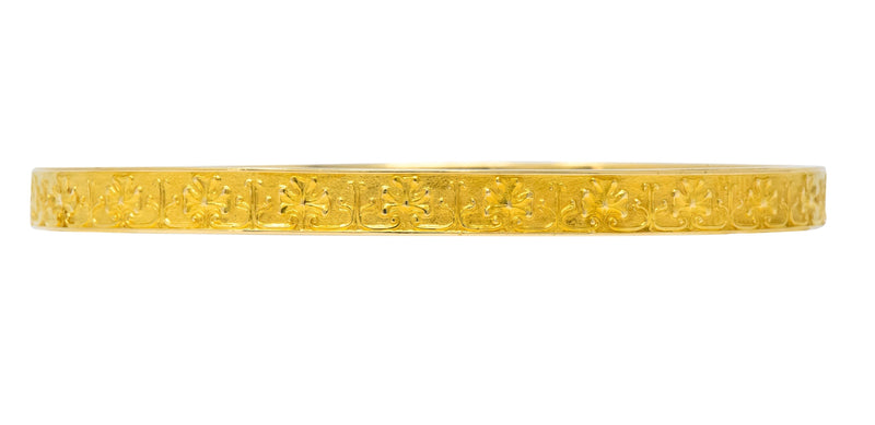 Tiffany & Co. Victorian 18 Karat Gold Floral Bangle Bracelet - Wilson's Estate Jewelry