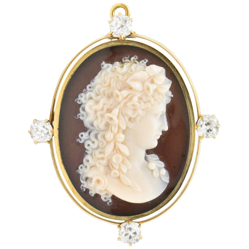 Tiffany & Co. Victorian 2.00 CTW Diamond Hardstone Cameo Pendant/Brooch Brooch out-of-stock signed Victorian
