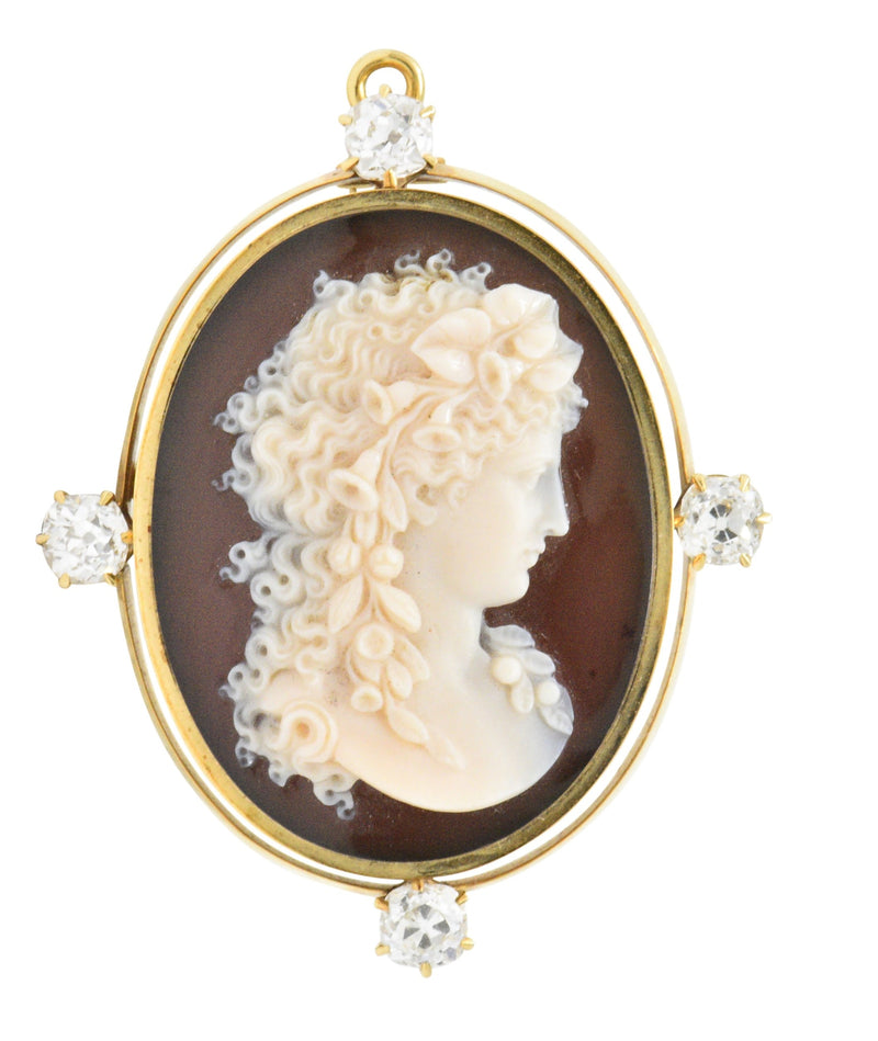 Tiffany & Co. Victorian 2.00 CTW Diamond Hardstone Cameo Pendant/Brooch - Wilson's Estate Jewelry