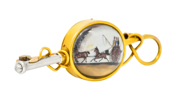 Tiffany & Co. Victorian Painted Carved Rock Crystal Platinum 18 Karat Gold Equestrian Brooch - Wilson's Estate Jewelry