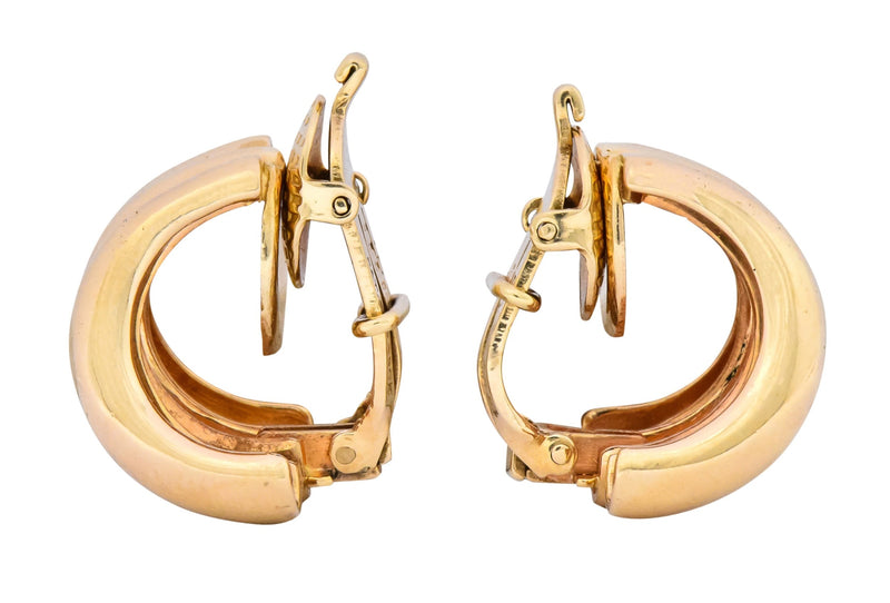 Tiffany & Co. Vintage 14 Karat Gold J Hoop Ear-Clip Earrings - Wilson's Estate Jewelry