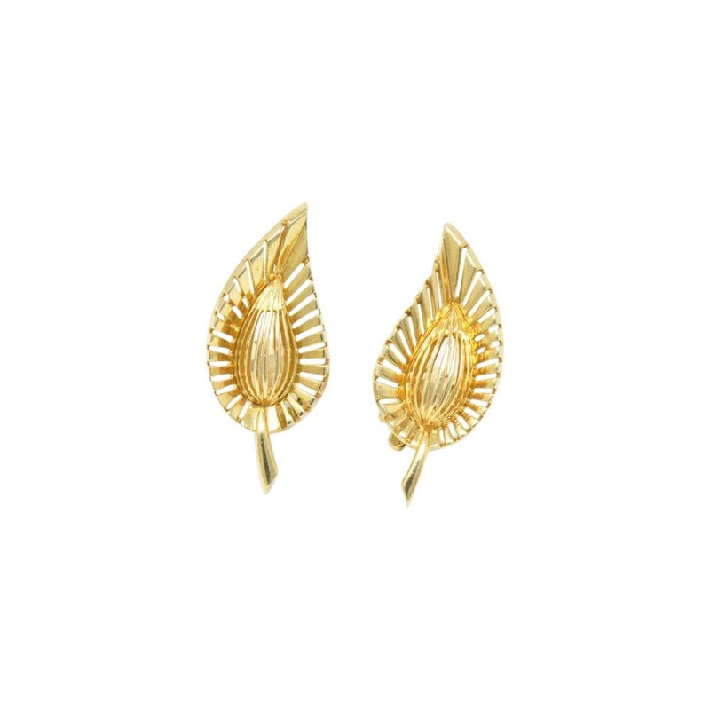 Tiffany & Co. Vintage 14K Yellow Gold Leaf Clip Earrings Earrings