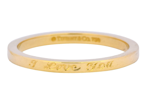 Tiffany & Co. Vintage 18 Karat Gold I Love You Band Ring Unisex - Wilson's Estate Jewelry
