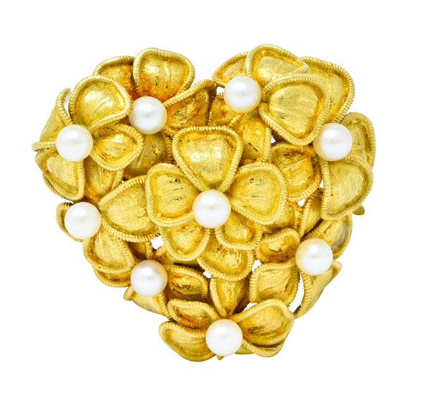 Tiffany & Co. Vintage 1970 Pearl 18 Karat Gold Floral Heart Brooch Brooch