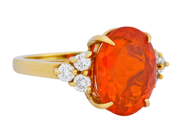 Tiffany & Co. Vintage 4.86 CTW Fire Opal Diamond 18 Karat Gold Ring Ring