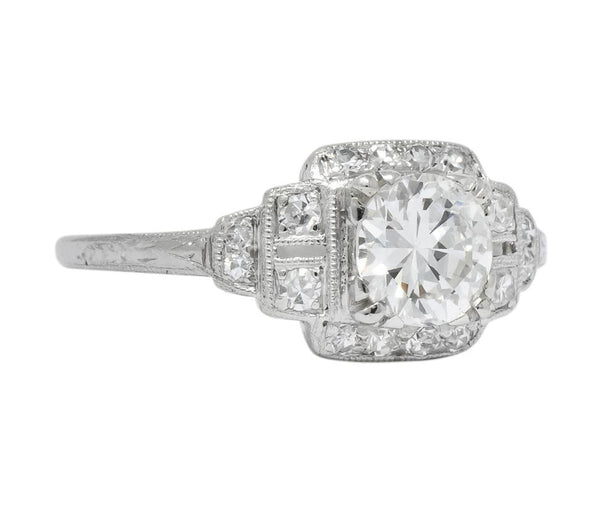 Traub Art Deco 0.85 CTW Diamond Platinum Engagement Ring Ring