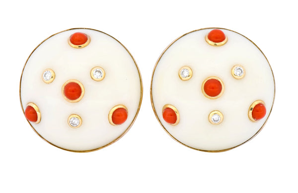 Trianon Vintage Coral Diamond 14 Karat Gold Round Earrings Circa 1990's - Wilson's Estate Jewelry