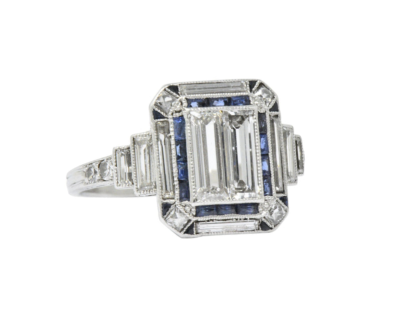 Unique Art Deco 2.90 CTW Diamond Sapphire Platinum Engagement Ring Ring