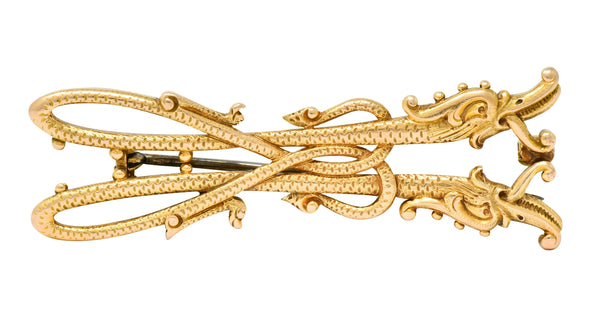 Unique Tiffany & Co. Victorian 14 Karat Gold Serpent Dragon Brooch - Wilson's Estate Jewelry