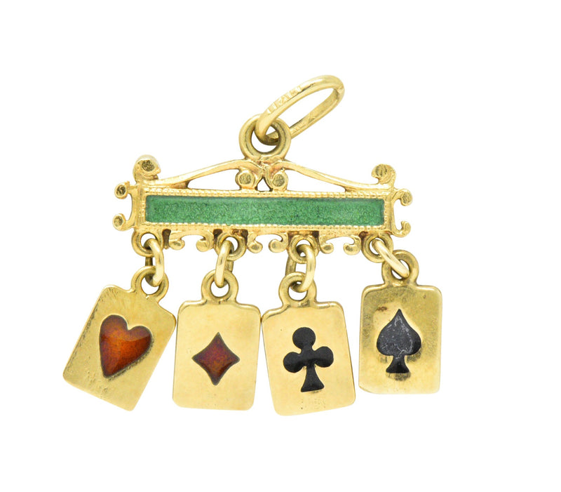 Unique Victorian Enamel 18 Karat Gold Playing Cards Charm bracelet