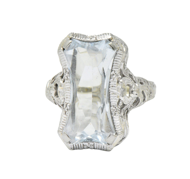 Unique Vintage Art Deco Aquamarine 14 Karat White Gold Ring - Wilson's Estate Jewelry