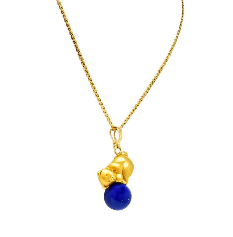 UnoAErre Contemporary Lapis Lazuli 18 Karat Gold Teddy Bear Pendant Necklace Necklace