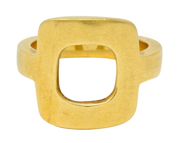 Unusal Dinh Van Cartier Modernist 18 Karat Yellow Gold Cushion Ring Ring Cartier Contemporary Dinh Van signed