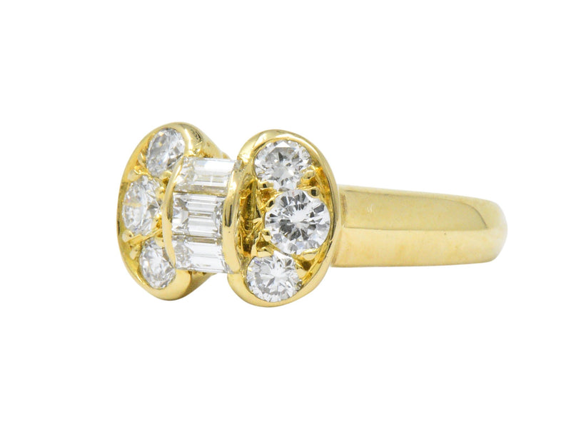 Van Cleef and Arpels 0.60 CTW Diamond 18 Karat Yellow Gold Bow Ring Ring