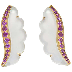 Van Cleef & Arpels 1.05 CTW Pink Sapphire Rock Crystal Mother Of Pearl 18 Karat Gold Ear-Clips Earrings - Wilson's Estate Jewelry