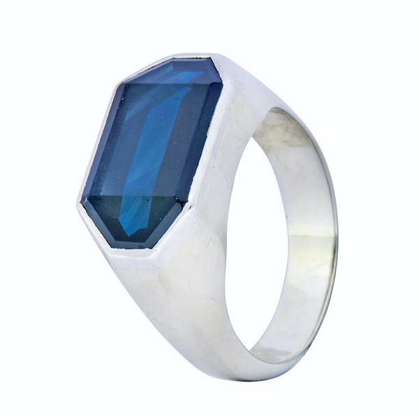 Van Cleef & Arpels 9.00 CTW No Heat Sapphire Platinum-Topped 18 Karat White Gold Mens Ring AGL Ring