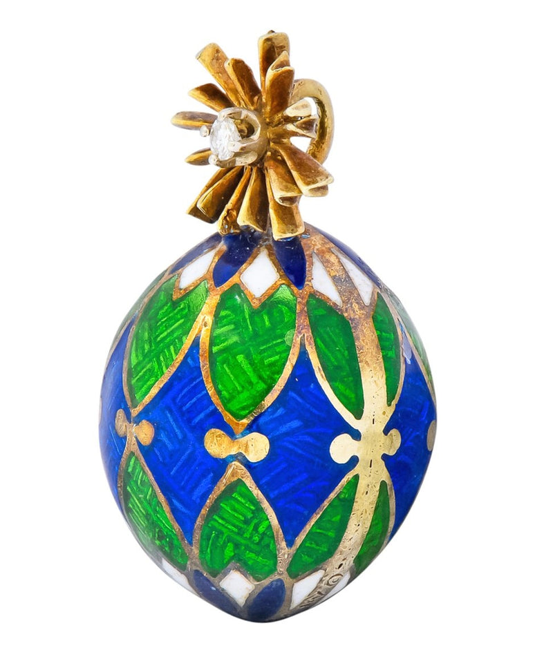 Van Cleef & Arpels Enamel Diamond 14 Karat Gold Egg Pendant Charm - Wilson's Estate Jewelry