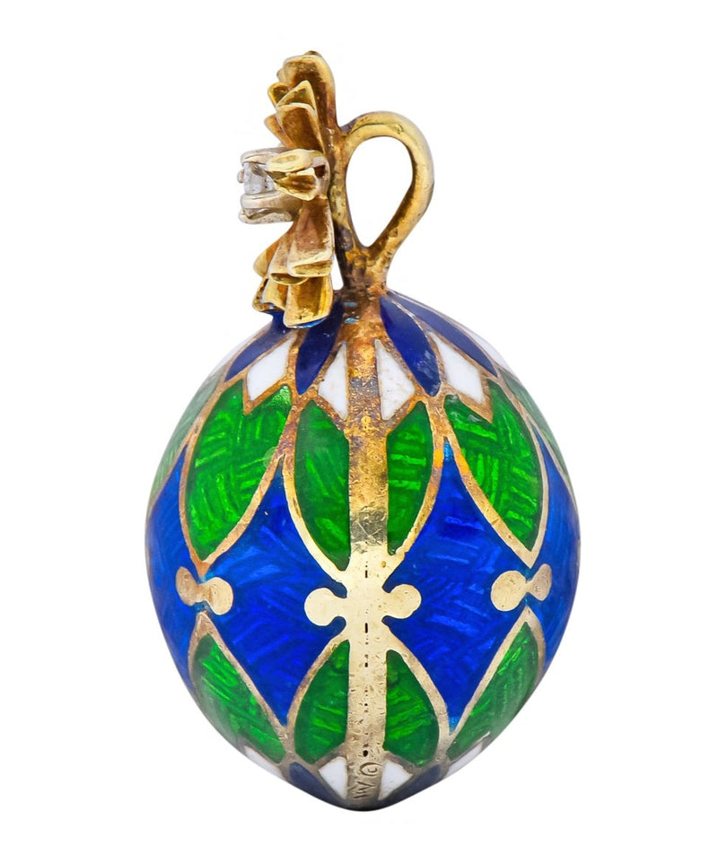 Van Cleef & Arpels Enamel Diamond 14 Karat Gold Egg Pendant Charm Necklace