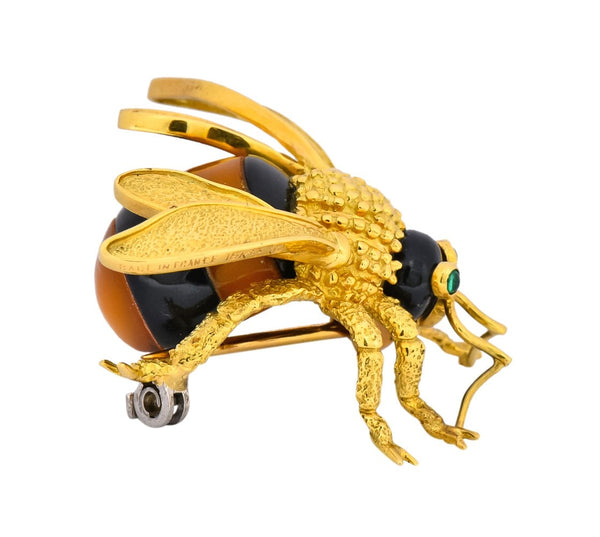 Van Cleef & Arpels French 1970's Vintage Onyx Amber Chrysoprase 18 Karat Gold Bee Bug Brooch - Wilson's Estate Jewelry