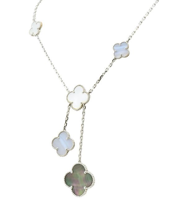 Van Cleef & Arpels Mother of Pearl 18 Karat White Gold 6 Motif Alhambra Magic Necklace Necklace Contemporary Most Wanted Mother-of-pearl
