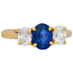 Vibrant Contemporary 1.55 CTW Sapphire Diamond 14 Karat Gold Ring - Wilson's Estate Jewelry