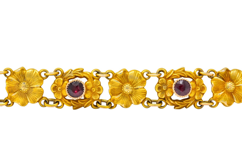 Victorian 0.45 CTW Ruby 14 Karat Gold Flower Link Bracelet - Wilson's Estate Jewelry