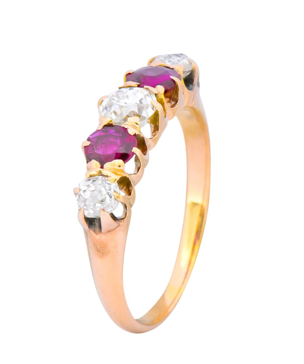 Victorian 0.51 CTW Diamond Ruby 14 Karat Gold Stackable Band Ring Ring