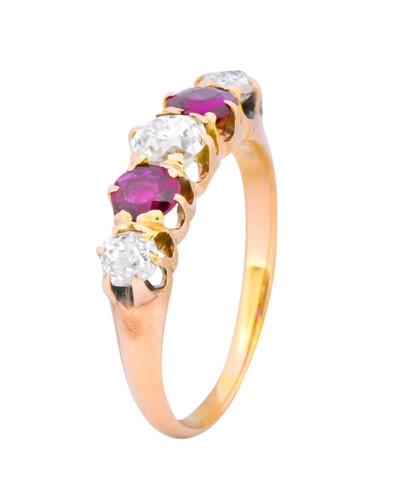 Victorian 0.51 CTW Diamond Ruby 14 Karat Gold Stackable Band Ring - Wilson's Estate Jewelry
