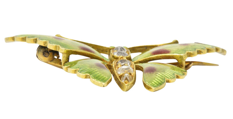 Victorian 0.60 CTW Diamond Enamel 14 Karat Gold Butterfly Brooch Brooch out-of-stock Victorian