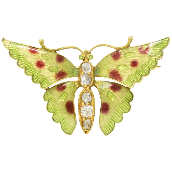 Victorian 0.60 CTW Diamond Enamel 14 Karat Gold Butterfly Brooch - Wilson's Estate Jewelry